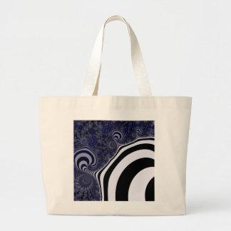 Blue and black striped  fractal. large tote bag