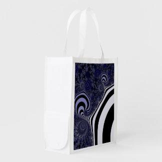 Blue and black striped  fractal. reusable grocery bag