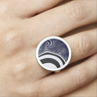 Blue and black striped  fractal. ring