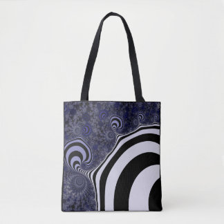 Blue and black striped  fractal. tote bag