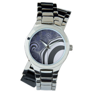 Blue and black striped  fractal. watch