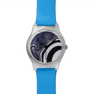 Blue and black striped  fractal. watches
