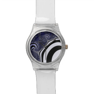 Blue and black striped  fractal. wrist watches