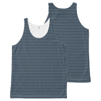 Blue and Black Stripes All-Over-Print Tank Top