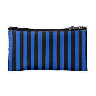 Blue and black stripes - modern cosmetic bag