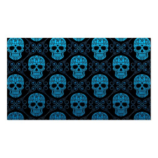 Blue and Black Sugar Skull Pattern Business Card Template