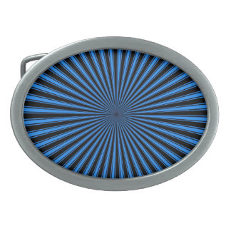 Blue and Black Sun Funky Abstract Art Oval Belt Buckles