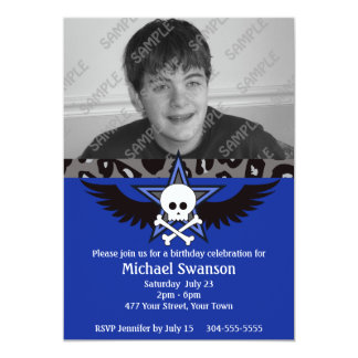 "Blue and Black Teen Birthday 5"" X 7"" Invitation Card"