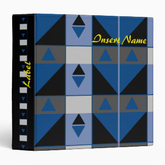 Blue and Black Triangles Vinyl Binders