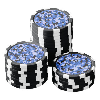 Blue and Black Water Pixel Camo pattern Poker Chips