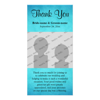 Blue and Black Wedding Thank You Photo Greeting Card