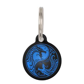 Blue and Black Yin Yang Dragons Pet Tag