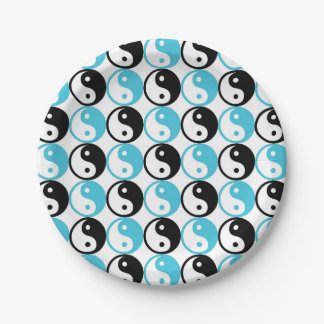 Blue and black yin yang pattern 7 inch paper plate