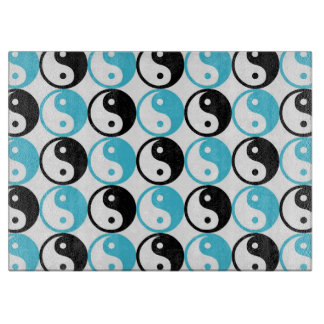 Blue and black yin yang pattern boards