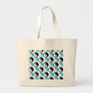Blue and black yin yang pattern large tote bag