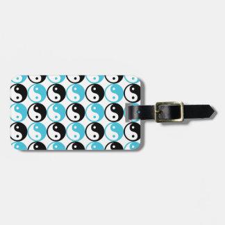 Blue and black yin yang pattern luggage tag