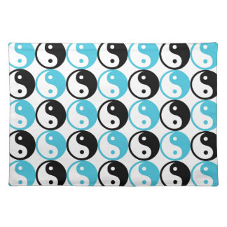 Blue and black yin yang pattern placemat