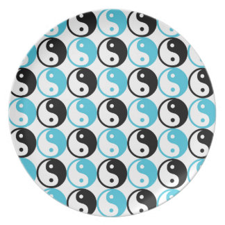 Blue and black yin yang pattern plates