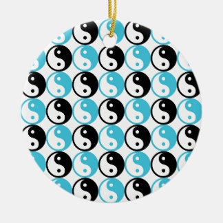 Blue and black yin yang pattern round ceramic ornament