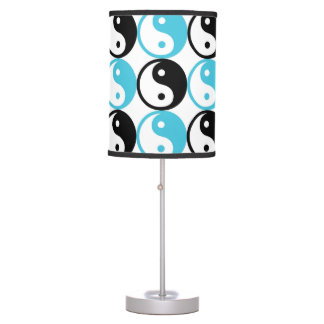 Blue and black yin yang pattern table lamp
