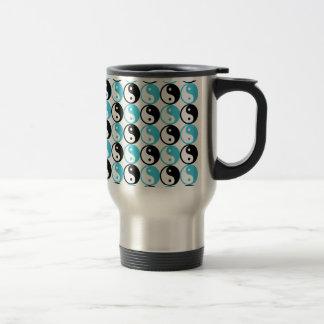 Blue and black yin yang pattern travel mug