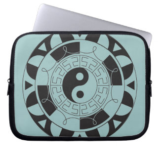 Blue And Black Yin Yang Symbol Laptop Sleeve