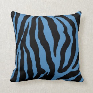Blue and Black Zebra Print Striped Pillow