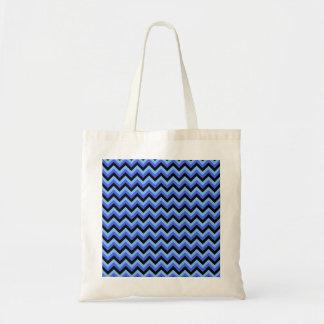 Blue and Black Zig zag Stripes. Tote Bag
