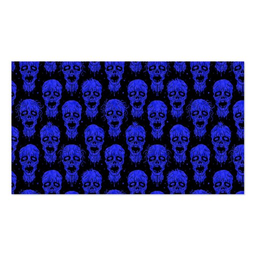 Blue and Black Zombie Apocalypse Pattern Business Cards