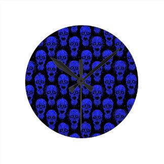 Blue and Black Zombie Apocalypse Pattern Wallclock