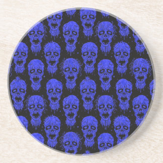 Blue and Black Zombie Apocalypse Pattern Beverage Coasters