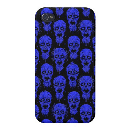 Blue and Black Zombie Apocalypse Pattern iPhone 4/4S Cover