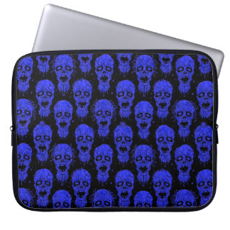 Blue and Black Zombie Apocalypse Pattern Laptop Computer Sleeves