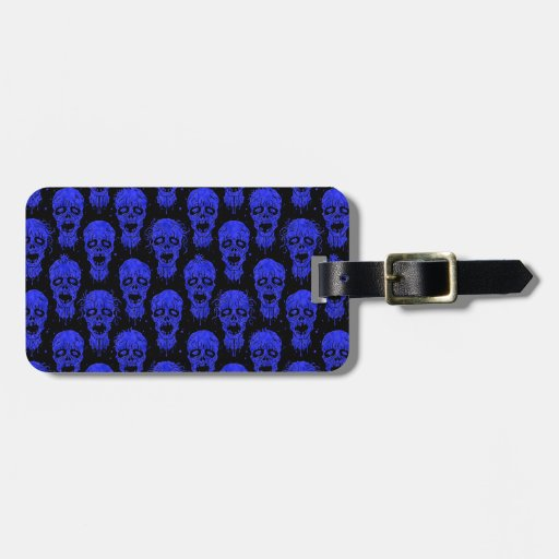 Blue and Black Zombie Apocalypse Pattern Tags For Luggage
