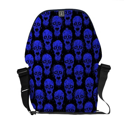 Blue and Black Zombie Apocalypse Pattern Courier Bag