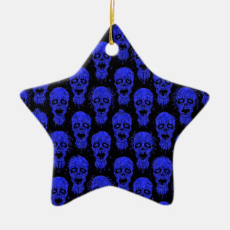 Blue and Black Zombie Apocalypse Pattern Ceramic Star Ornament