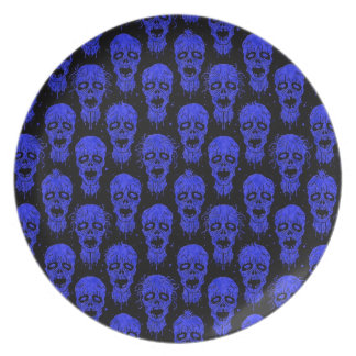 Blue and Black Zombie Apocalypse Pattern Party Plates