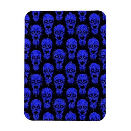 Blue and Black Zombie Apocalypse Pattern Vinyl Magnet