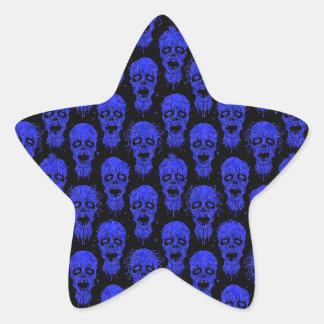 Blue and Black Zombie Apocalypse Pattern Star Stickers