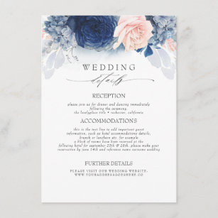 Blue and Blush Colored Flowers Wedding Information Enclosure Card