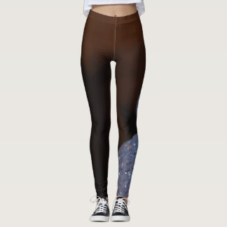 Blue and brown abstract pattern design leggings
