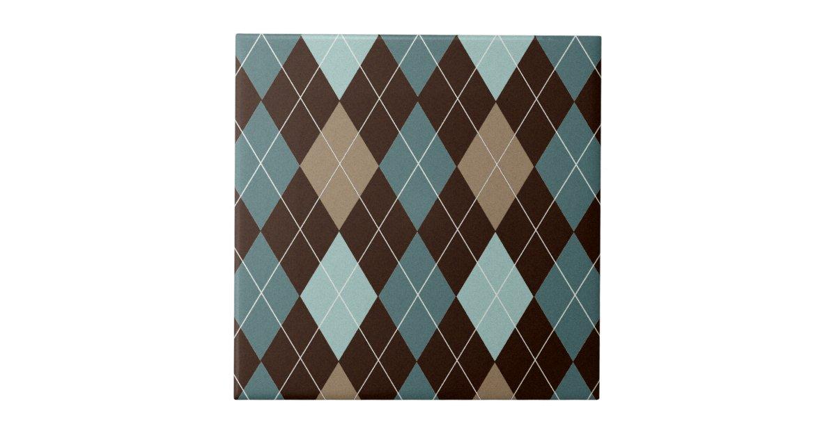 Blue and brown argyle fashion pattern ceramic tile zazzle for Tile fashion