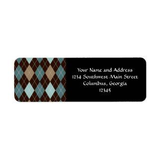 Blue and Brown Argyle Fashion Pattern Return Address Label