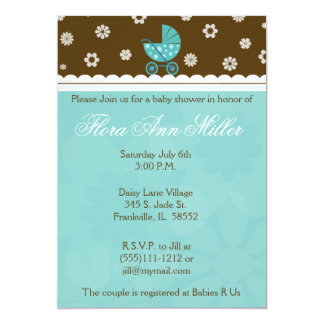 Blue and Brown Baby Buggy Baby Shower Invitation