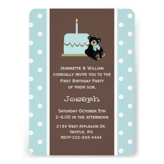 Blue and Brown Baby s First Birthday Invitation