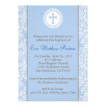 Blue and Brown Baptism/Christening Invitation