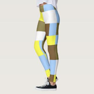 Blue and Brown Blocks Leggings