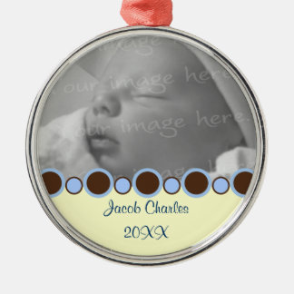 Blue and Brown Border Personalized Photo Ornament