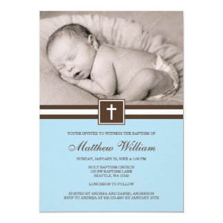 """Blue and Brown Cross Boy Photo Baptism 5"""" X 7"""" Invitation Card"""