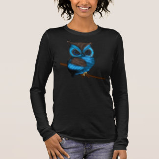 Blue And Brown Cute Owl On Branch Long Sleeve T-Shirt